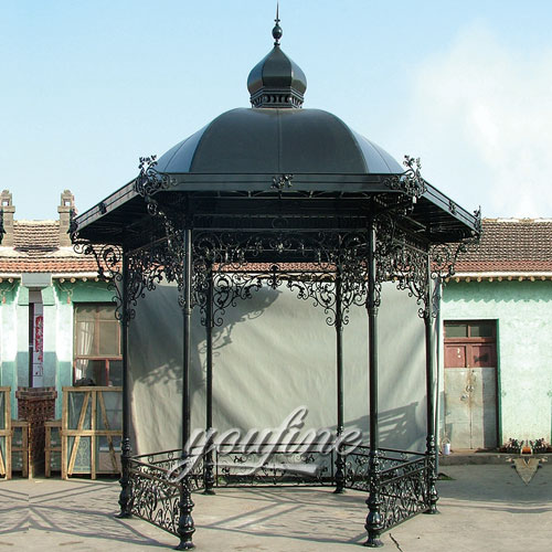 Buying small outdoor garden round screened hardtop gazebo with best price