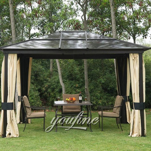 Outdoor large wrought iron hardtop 12x12 gazebo tent with best price