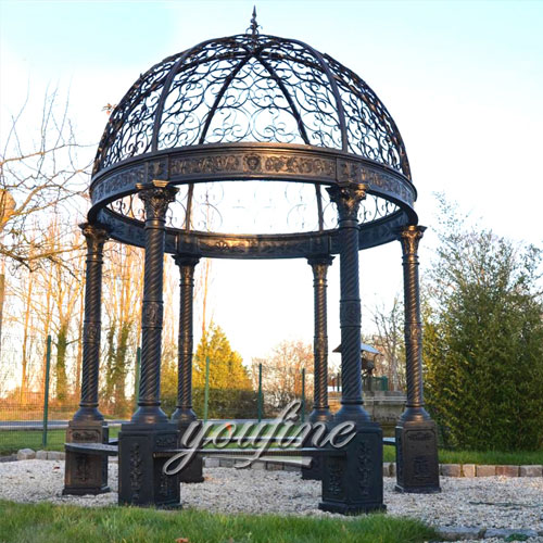 Outdoor large metal garden round hardtop gazebo with best price