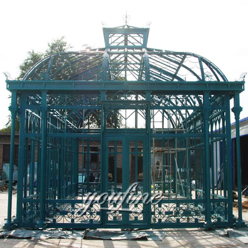 Outdoor large garden screened 12x12 wrought iron gazebo for sale