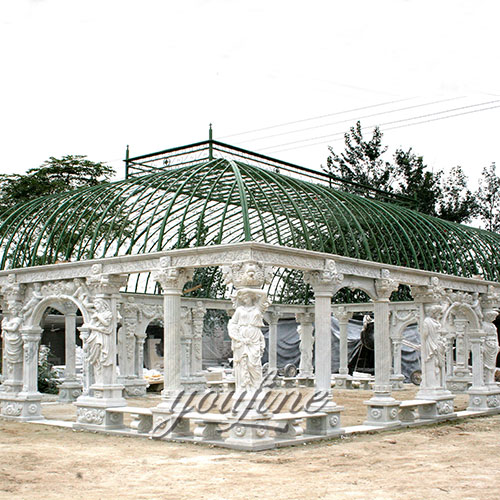 Large gazebo with luxury white marble and lady statue craving for sale