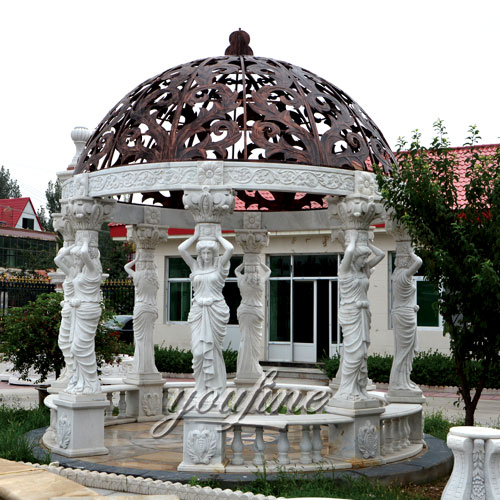 Outdoor luxury white marble garden gazebo with statue for sale