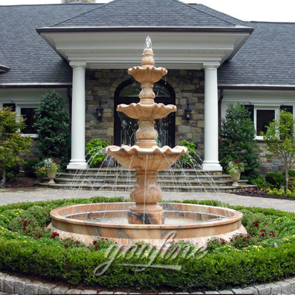 Classical 3-tiers water marble fountain in the center of the garden for sale
