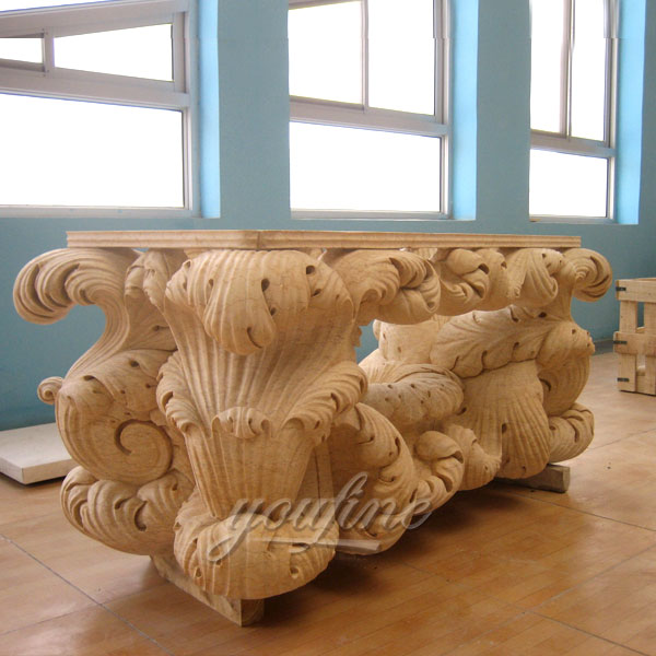Hand carved natural marble long table with floral decor for garden