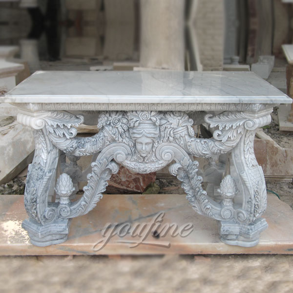 Hand carved natural white marble table with floral decor for outdoor garden