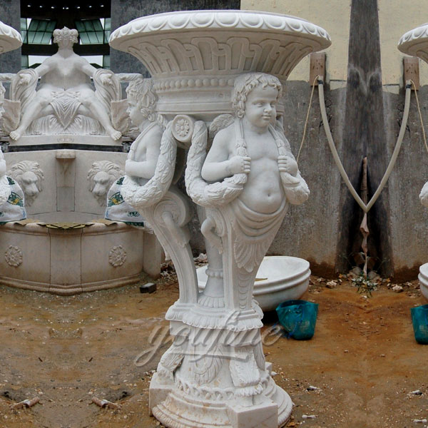 Large white marble garden planters with figure decoration for sale