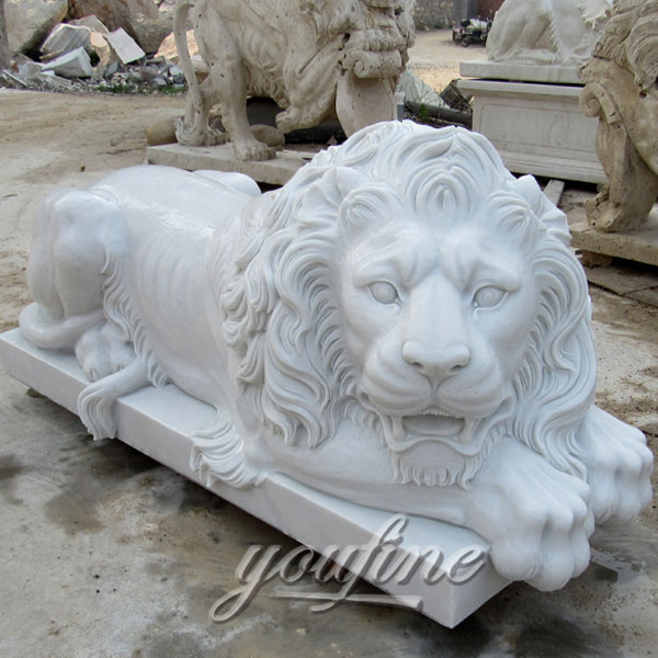 Lawn ornaments Sleeping white stone lion statues animal sculptures for sale