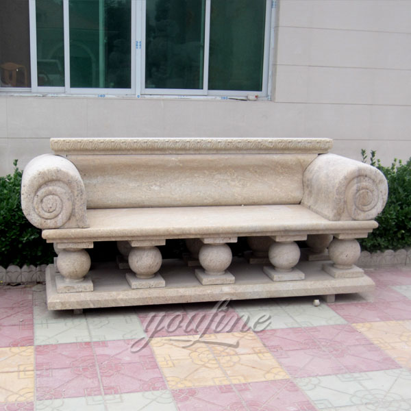 Natural antique beige marble bench for outdoor garden
