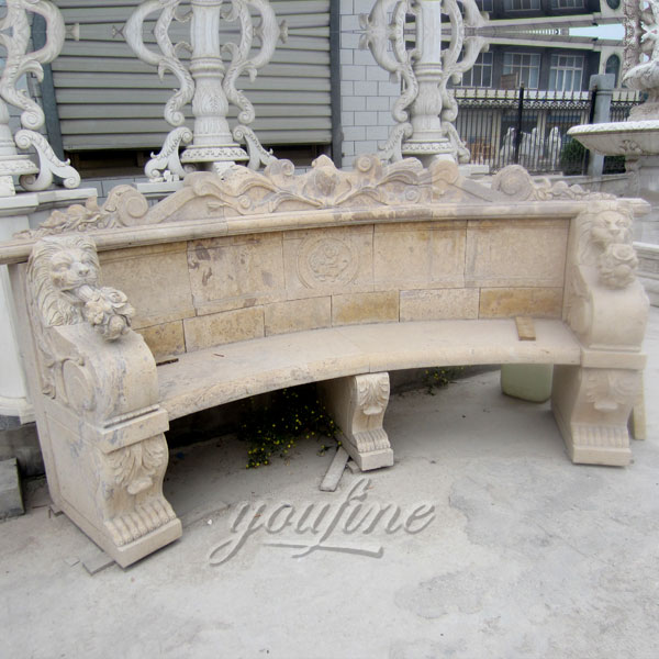 Outdoor antique hand carved beige marble bench for garden decor
