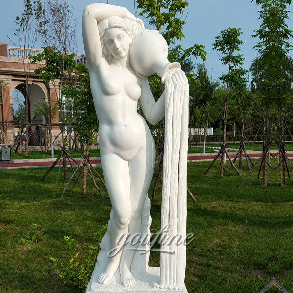 Outdoor garden decor life size nude woman pouring water for sale