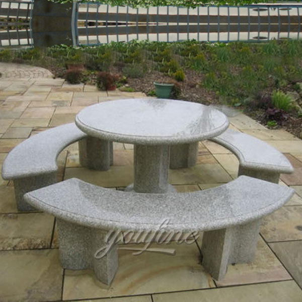 Outdoor garden decor marble table and bench set for sale