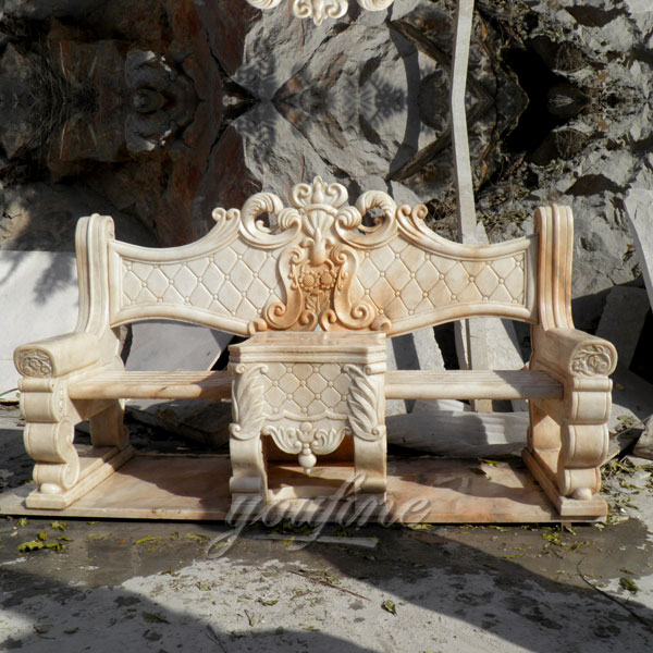 Outdoor garden decor natural beige marble bench for sale