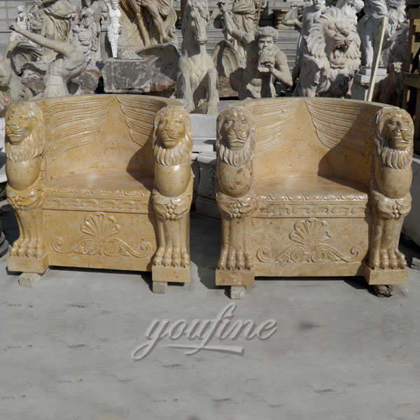Outdoor hand carved natural marble chair in pairs with lion head decoration for sale