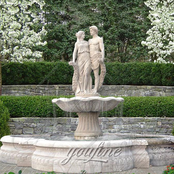Outdoor large beige marble garden fountain with young couples for sale