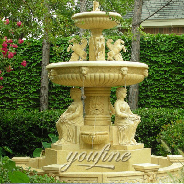 outdoor large tiered marble fountain with horse and sitting woman for garden decoration