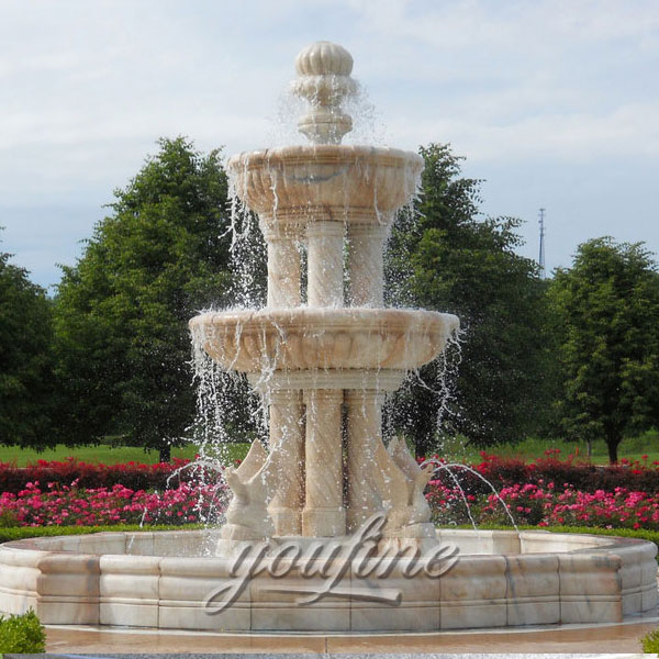 Outdoor large tiered water fountain with columns and birds statue for garden decoration