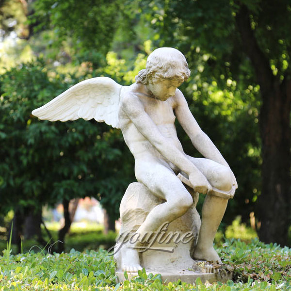 Outdoor Life Size Child Angel Marble Statues For Garden Decoration