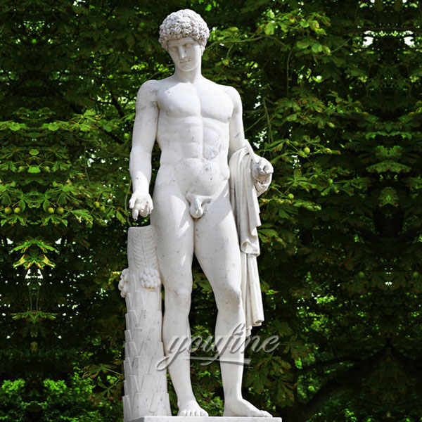 Outdoor life size nude man marble sculptures for garden decor