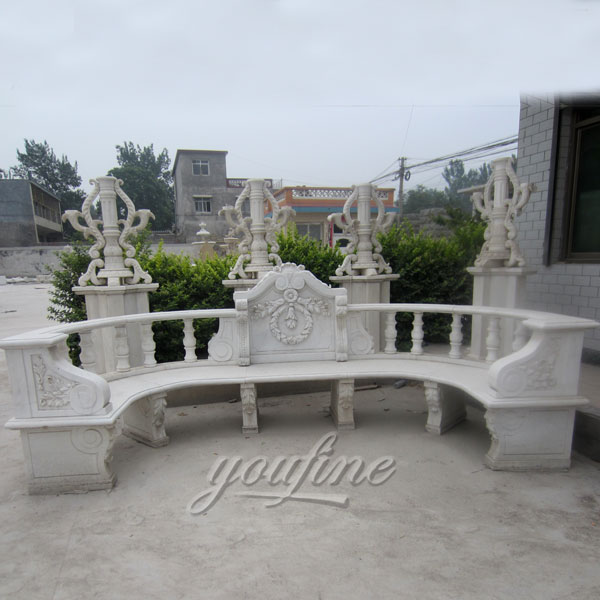 Outdoor pure white hand carved marble gazebo bench for garden