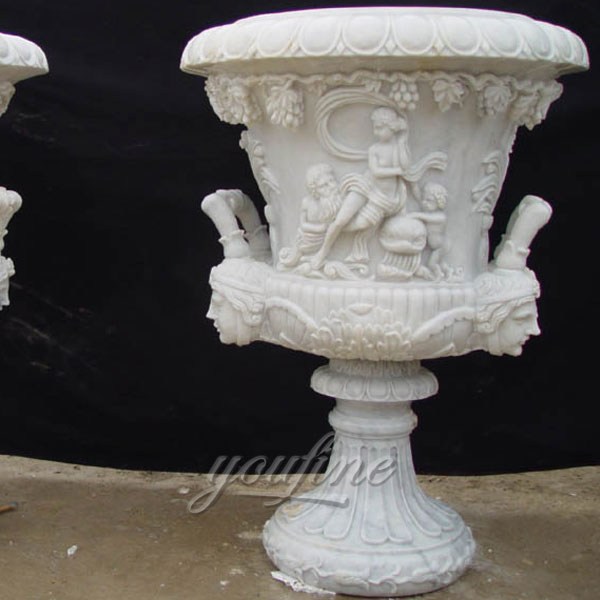 Outdoor white marble pot for garden decor