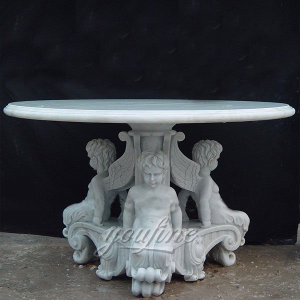 Pure white marble round desk with sitting boy statues for garden decor