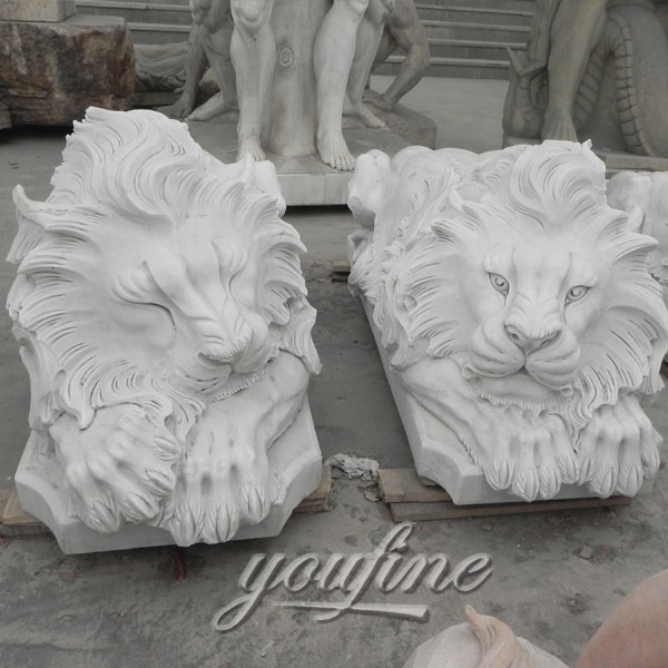 Sleeping natural marble stone lion statues life-size animal sculptures for lawn ornaments