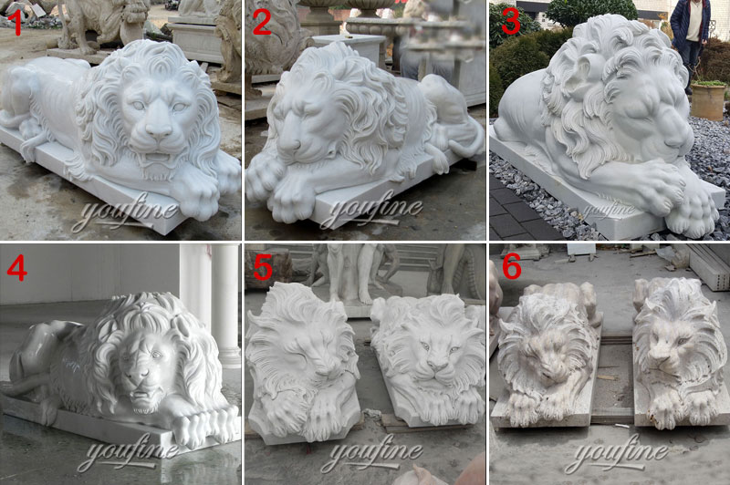 marble lying lion statue