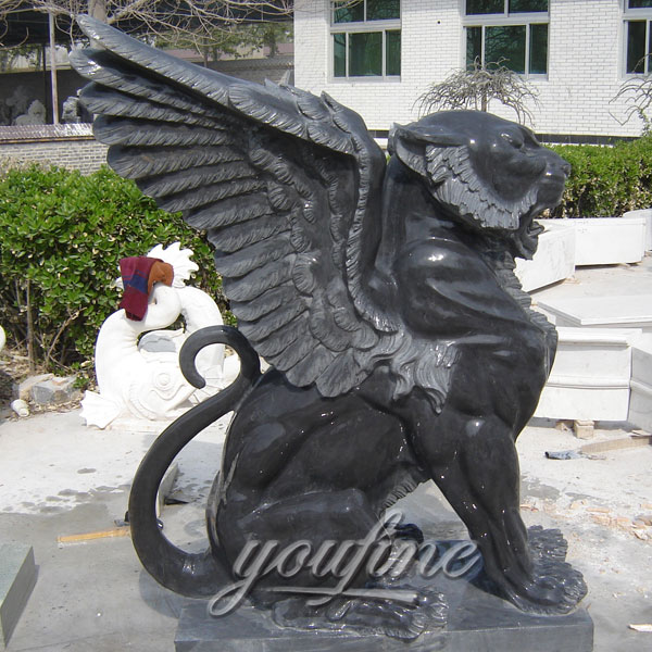 Flying lion garden marble statues in stock
