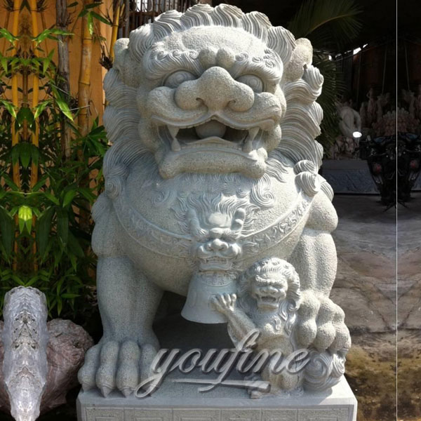 Decoration carving marble stone Chinese foo dog statues for gate outdoor